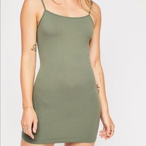 Free People Seamless Mini Slip in Olive XS/S